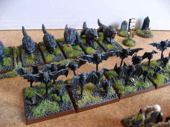Warhammer Bat Swarms & Dire Wolves