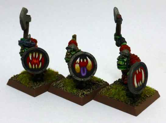 Oldhammer Orcs with shields by Marauder Miniatures