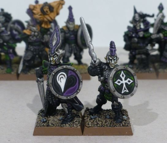 Two Citadel Dark Elf warriors with shields for Warhammer 3rd Edition