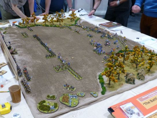Battle of Agincourt being played using Field of Glory rules