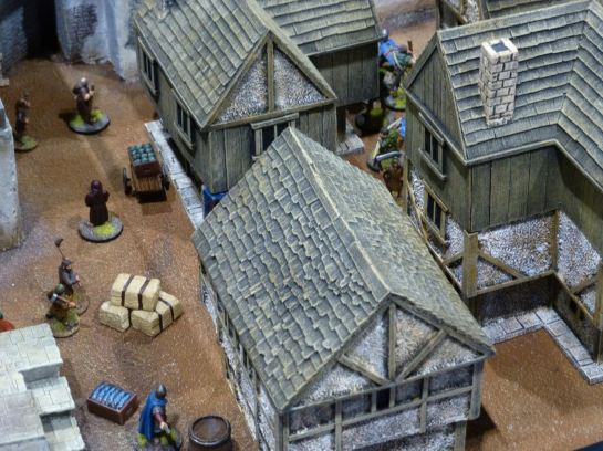 Dark Age skirmish in a town at Salute 2015