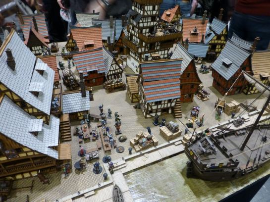 Medieval harbour town terrain by 4Ground at Salute 2015