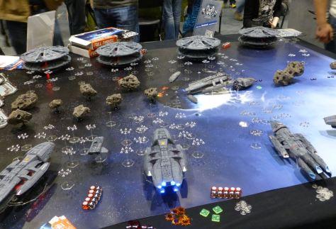 Custom built Battlestar Galactica models in battle