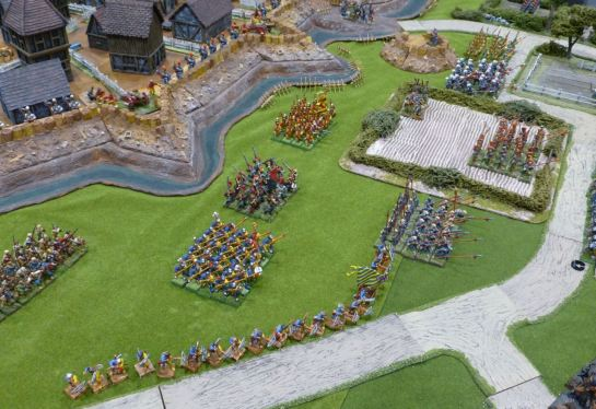 The defenders of Nordheim line up outside the ramparts