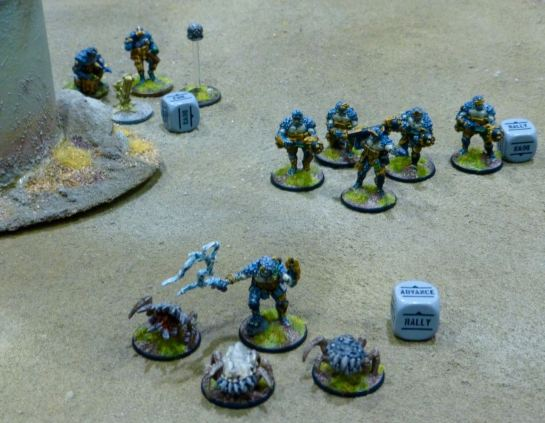 Miniatures and dice making up one of the factions in the game