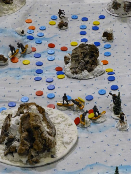 Miniatures and game tokens during the scenario