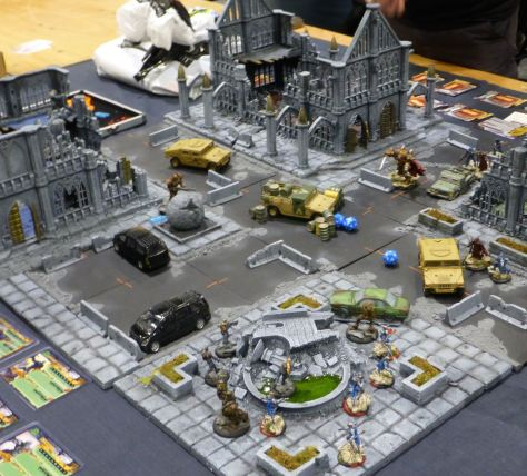 A skirmish amongst a ruined cityscape