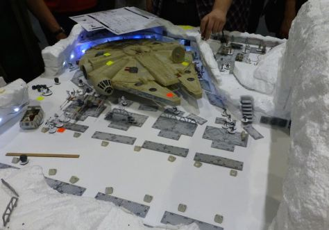 The Millennium Falcon in the hangar bay