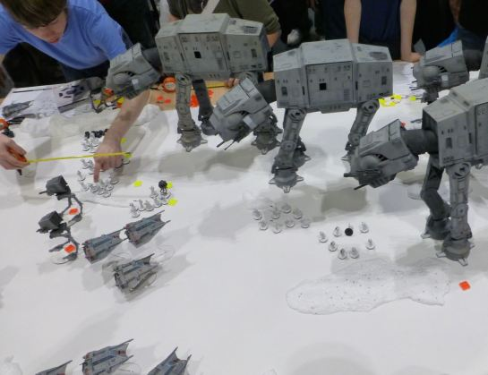 Squadrons of snowspeeders attack the Imperial walkers