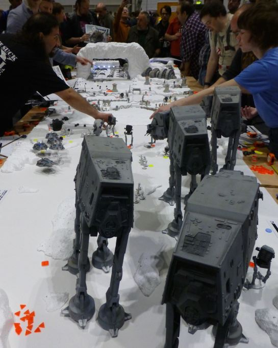 AT-AT walkers are advancing towards the rebel base