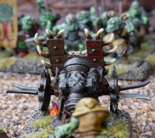 Rear view of the Lead Belcher pointing at a unit of Orc Arrer Boyz