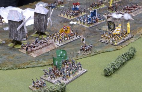 Regiments fighting under windmills