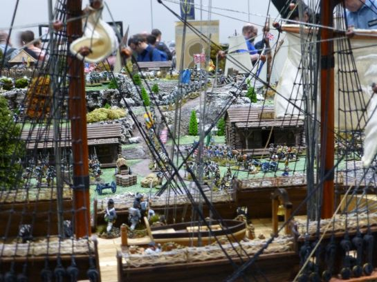 View through the rigging of a ship