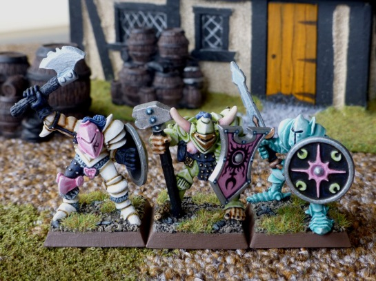 Front view of three Slaaneshi Warriors of Chaos with shields