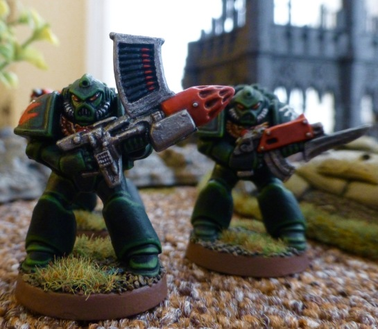Dark Angels Space Marines Devastators with missile launcher and bolter