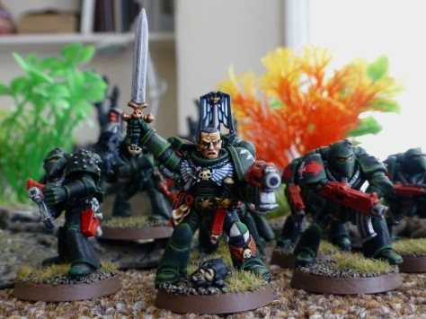 Dark Angels Sergeant leading a Tactical Squad