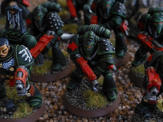 Close up of Dark Angels Space Marines
