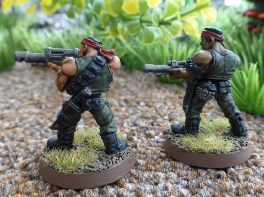 Back view of two Catachan Jungle Fighters