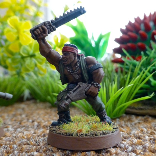 Imperial Guard Catachan Jungle Fighter Sergeant with laspistol and chainsword