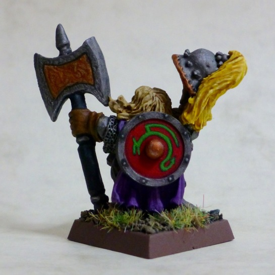 Back view of Dwarf Prince Ulther and his shouldered shield