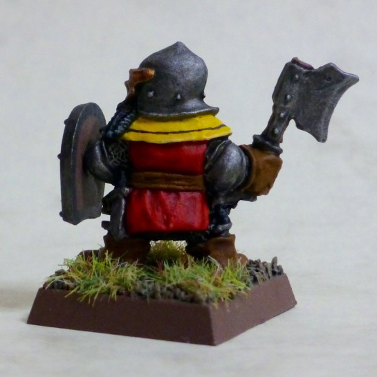 Back view of a Dwarf trooper of the Dragon Company