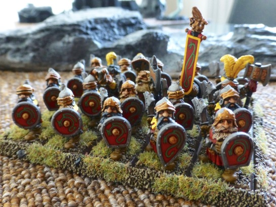 Prince Ulther's Dwarfs lined up in shieldwall formation