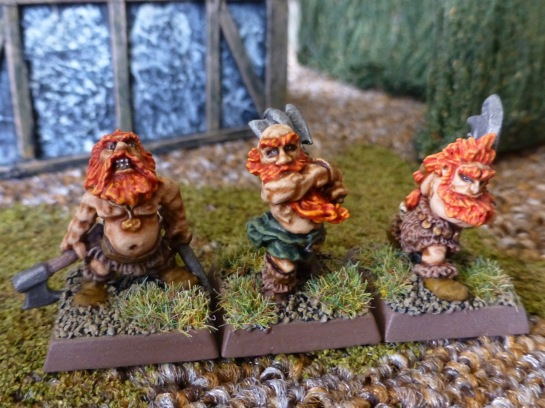 Three Dwarf berserkers with shaggy beards