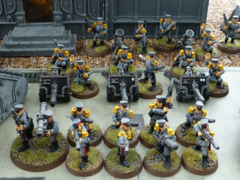 Infantry squad with missile and grenade launcher and two heavy support squads with lascannons and mortars