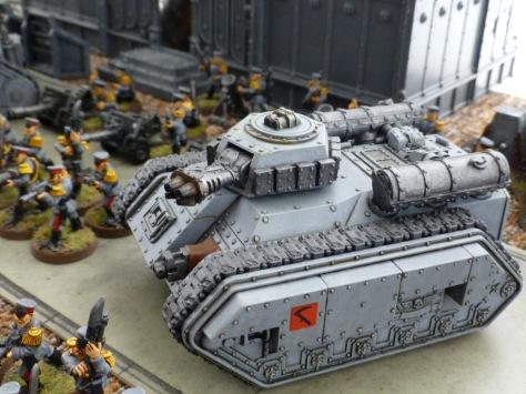 Hellhound flame tank in Mechanicus standard grey paint scheme
