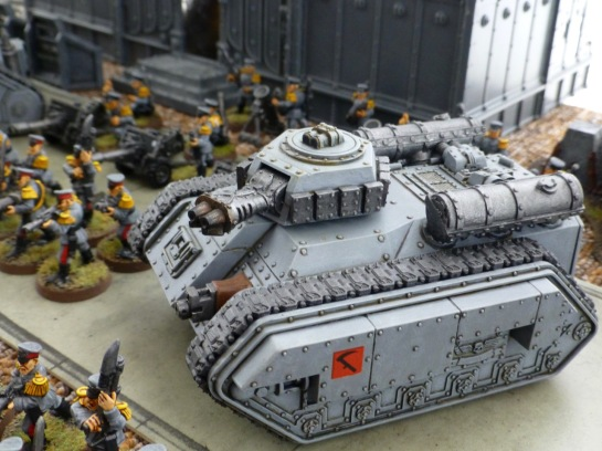 Hellhound flame tank in Mechanicus standard grey paint scheme