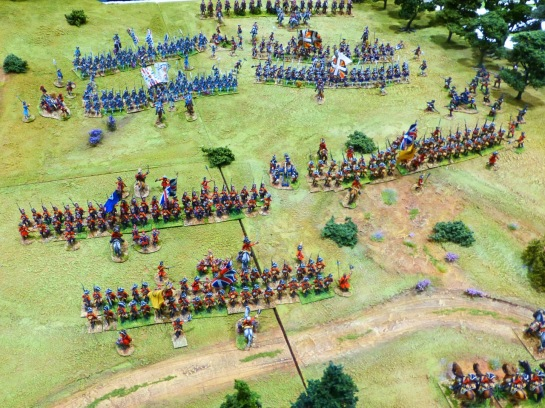Several regiments of infantry with muskets lined up in battle against each other