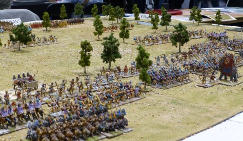 Overlooking the table from behind the Seleucid army including phalanxes and a war elephant