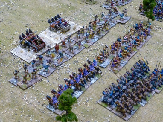 View of the Seleucid army with chariots, skirmishers, infantry and cavalry