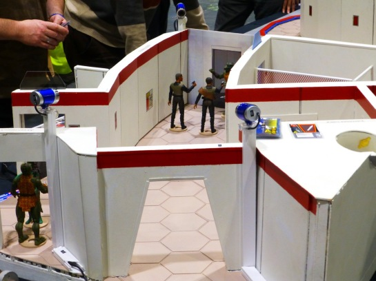 Star Trek actions figures in a scale model of corridors