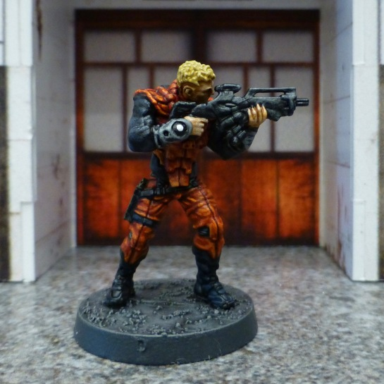 Infinity Nomads Corregidor Alguacil with combi rifle aiming