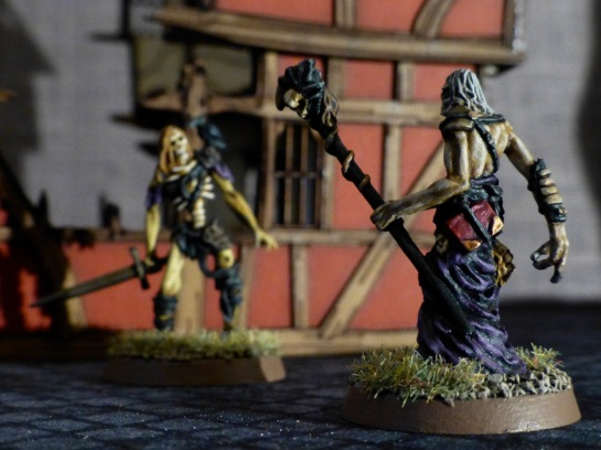 Back view of the necromancer and a zombie with sword