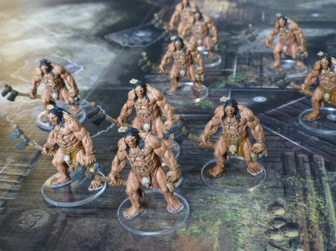 Painted figures for Pict Hunters on transparent round bases