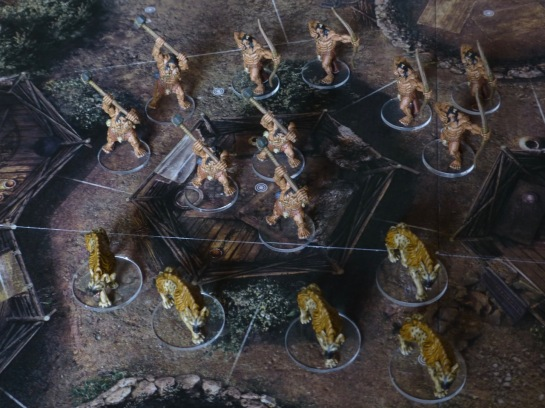 View from above onto Conan game board with miniatures