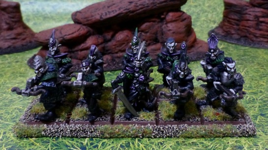 Regiment of ten Dark Elves in two ranks armed with crossbows