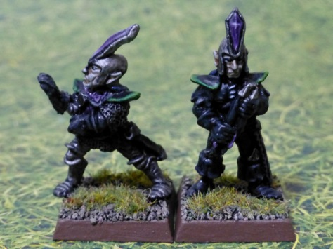 Front view of two Dark Elves in black, green and purple clothing with silver helmets