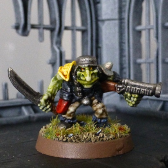 Goblin with sword, shotgun and steel helmet