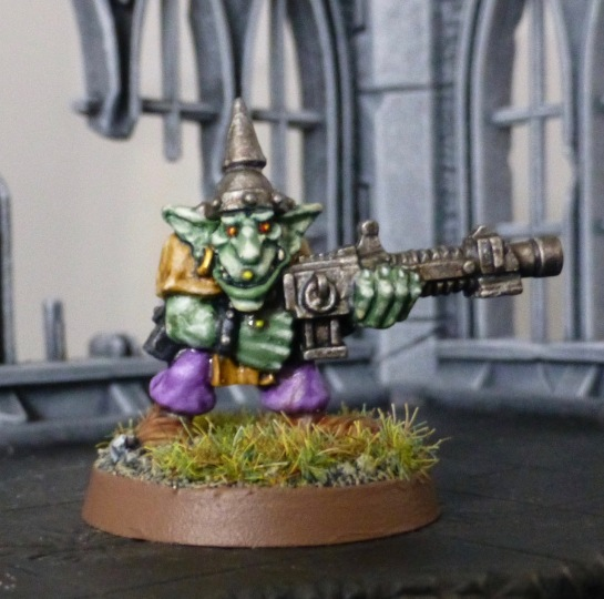 Goblin with automatic rifle and spiked helmet