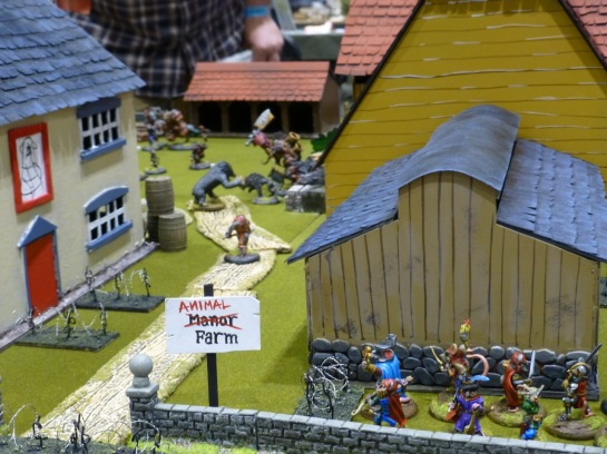 Farm buildings with anthropomorphic animals carrying swords