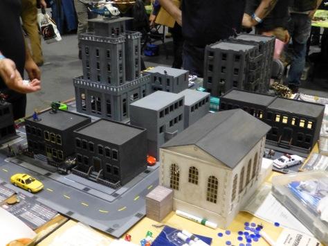 Inner city buildings with super heroes