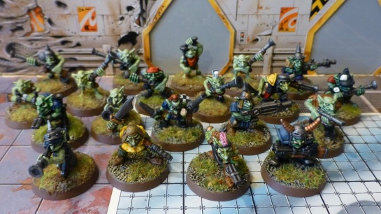Group of twenty goblinoids with primitive firearms