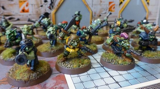 Eye level view of a group of Gretchin