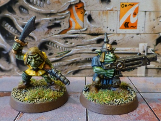 Two space goblins with guns
