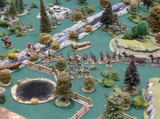 Column of troops moving through the forest