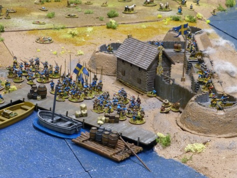 A small redoubt next to a quay and Swedish troops