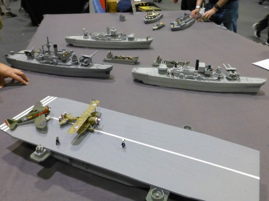 Warships and an aircraft carrier